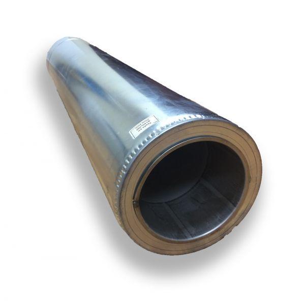 Труба дымоходная нержавейка в оцинковке 1 м ø 140/200  0,8 мм