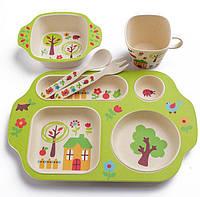 Набір дитячого посуду з бамбукового волокна з сюжетом, фото 1