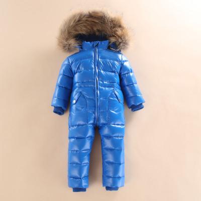 Супер-тёплый детский комбинезон с мехом, Синий