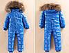 Супер-тёплый детский комбинезон с мехом, Синий, фото 2