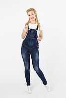 Полукомбинезон для беременных джинсовый, синий арт. 751723, фото 1