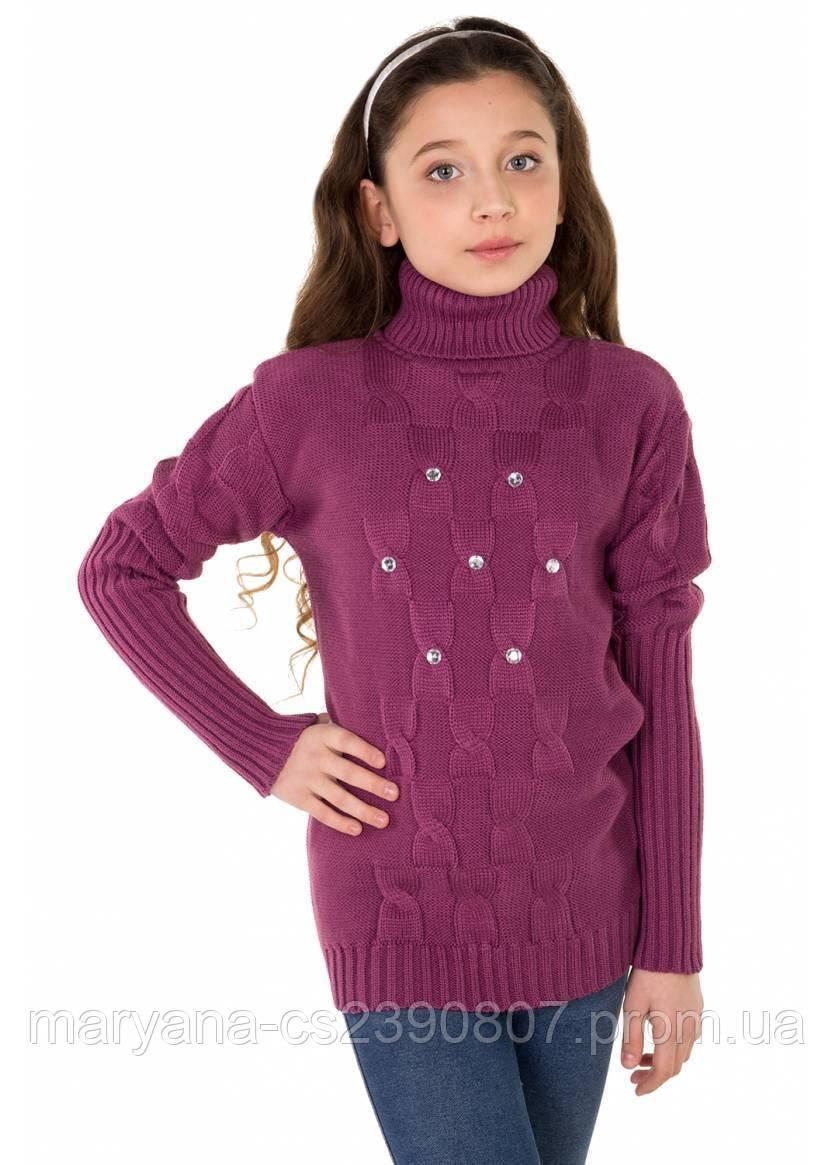фиолетовый вязаный свитер с стразами на 6 16 лет продажа цена в