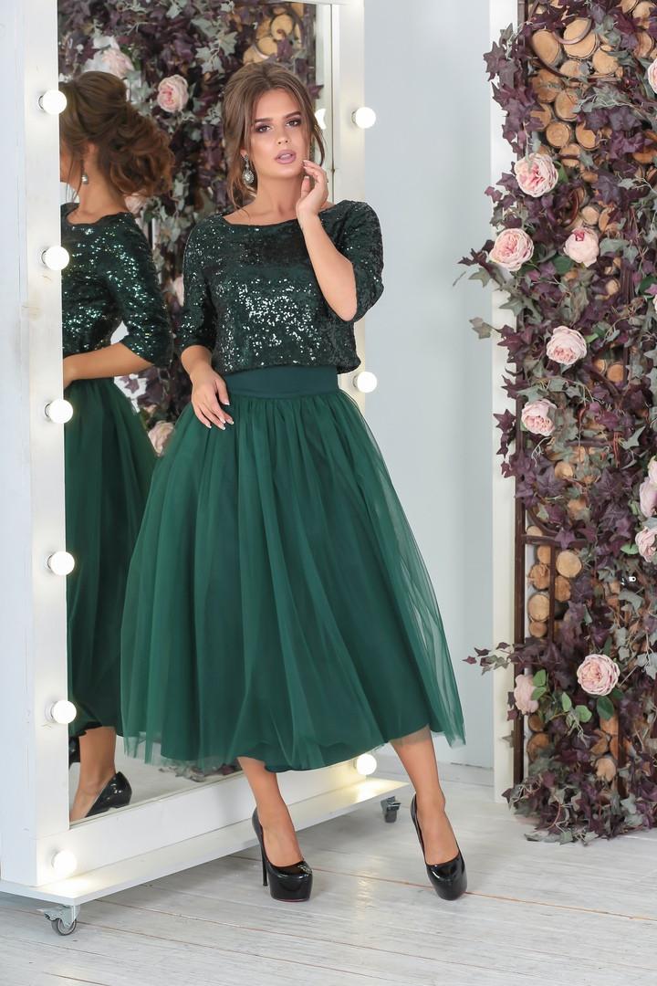 Вечерний костюм женский, костюм с юбкой Новинка модель 2019 ТОП продаж