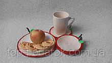 Набор вязанных салфеток Яблоко,набор салфеток под чашки