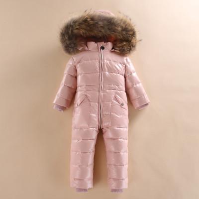 Супер-тёплый детский комбинезон с мехом, Розовый