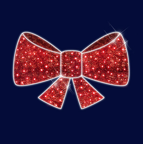 """3D светодиодная конструкция объемная """"Красный бант"""" 1,1*0,7*0,2"""