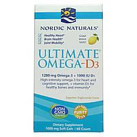 Рыбий жир омега-Д3 (лимон), Nordic Naturals, 1000 мг, 60 капсул