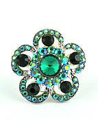 КО1680-1 кольца. Безразмерное с зелеными камнями, фото 1