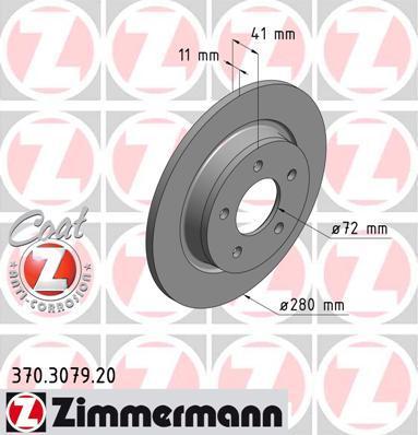 Тормозной диск ZIMMERMANN 370307900 на MAZDA PREMACY (CW)