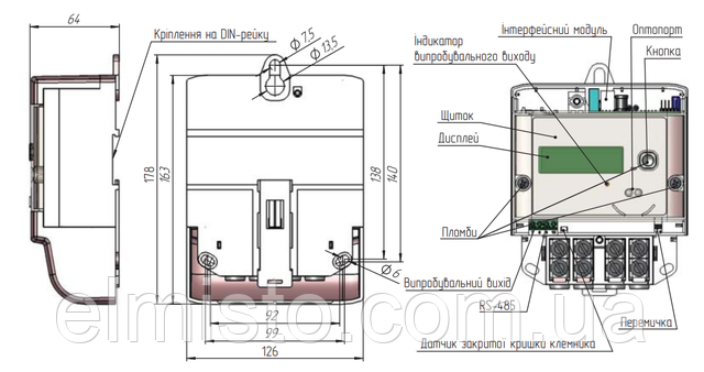 Общий вид, габаритные и установочные размеры, места установки пломб на корпусе однофазного электросчетчика типа МТХ 1 .. ... …4