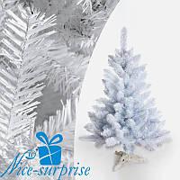 Новогодняя белая искусственная елка ЛЕСНАЯ из плёнки ПВХ 150 см, фото 1