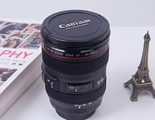 Термокружка с крышкой и поилкой в виде объектива фотоаппарата Canon EF 24 105   Стильная чашка термос, фото 2