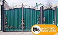 Распашные ворота с ковкой и профнастилом Кривой Рог