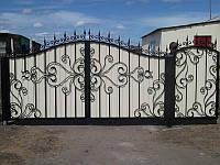 Распашные ворота с ковкой и профлистом Кривой Рог