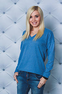 Пуловер женский рубчик голубой