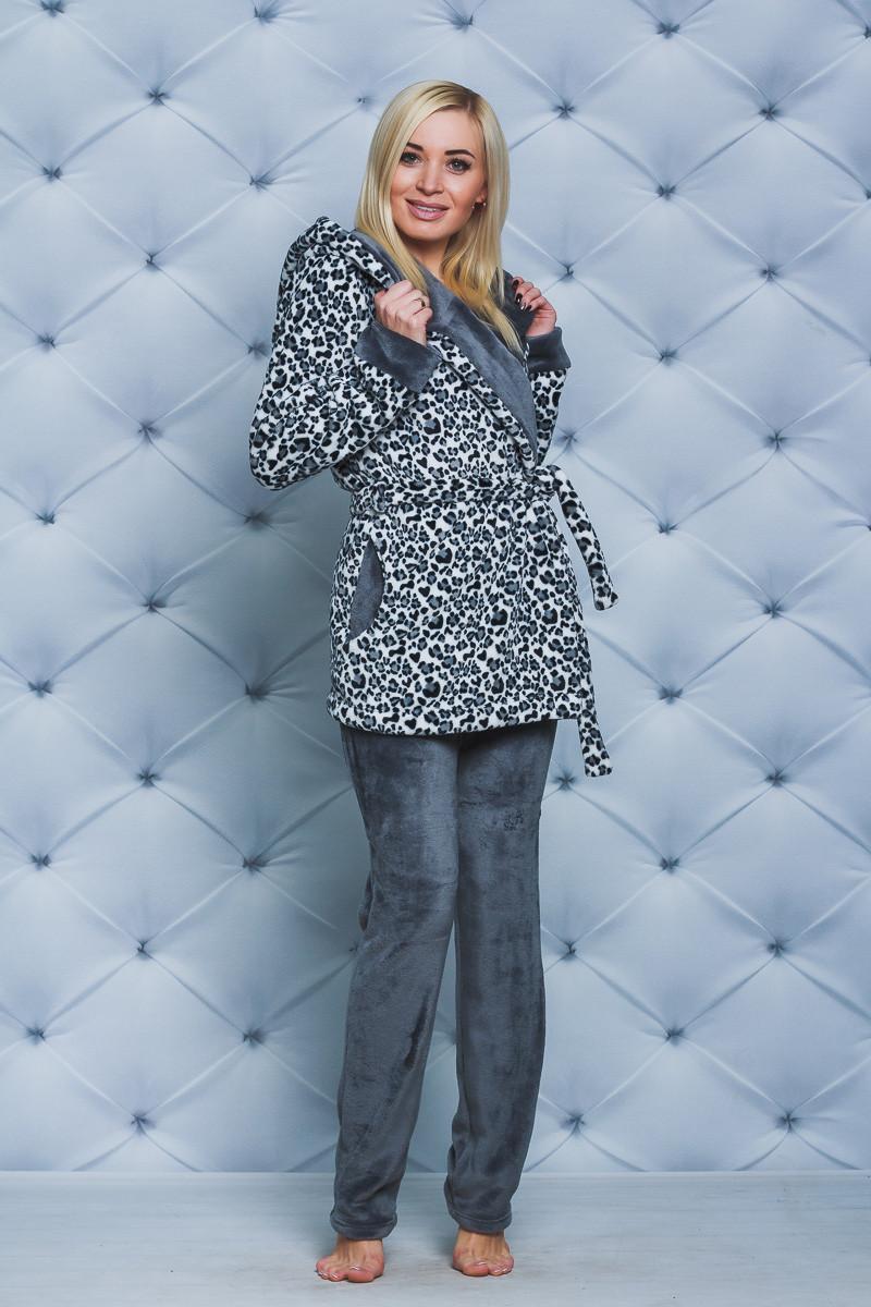 Пижама махровая женская со штанами Леопард