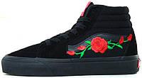 Женские кеды Vans Art Roses High All Black, Ванс Арт