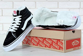 Зимние кеды Vans Old Skool high CANVAS SK8-HI с мехом, (унисекс), vans old school, ванс олд скул, фото 3