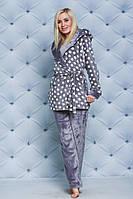 Пижама махровая женская со штанами Горох