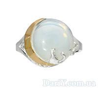 """Женское серебряное кольцо с золотой пластиной  """"Лунный свет"""""""