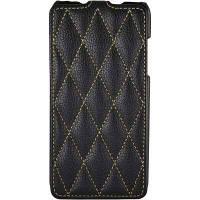 Чехол-флип для HTC Desire 200 кожаный (прошивка ромбами) черный