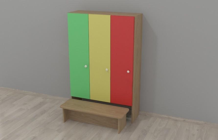 Шкаф для одежды 3-х секционный с лавочкой
