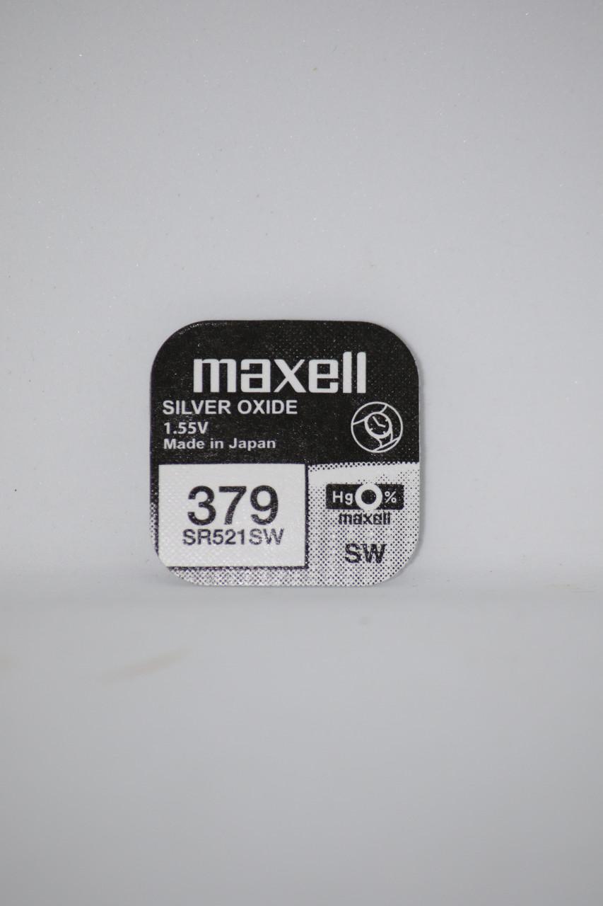 Батарейка для часов. Maxell SR521SW (379) 1.55v 16mAh 5.8x2.15mm Серебрянно-цинковая
