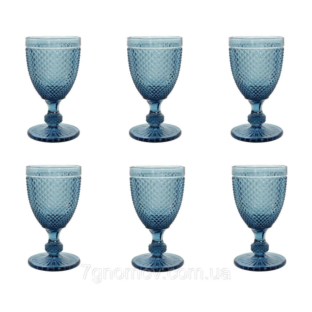 Набор 6 высоких бокалов из синего цветного стекла Аврора 250 мл