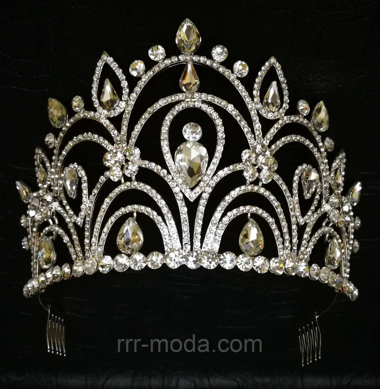 Эксклюзивные свадебные короны. Необычная высокая корона 10 см из страз и кристаллов 166