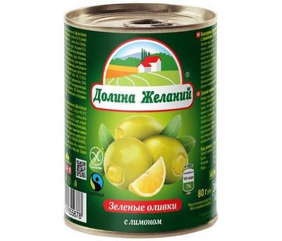 """Оливки фаршированные лимоном """"Долина Желаний""""280  грамм"""