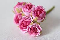 Розочки диаметр 2,5-3 см 6 шт/уп. розово-малинового цвета, фото 1