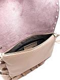 Сумка клатч женская Laura Biaggi (5439) пудровая кожаная, фото 6