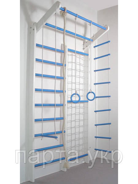 Спортивная стенка с производства Комби голубой с белым (стандарт)