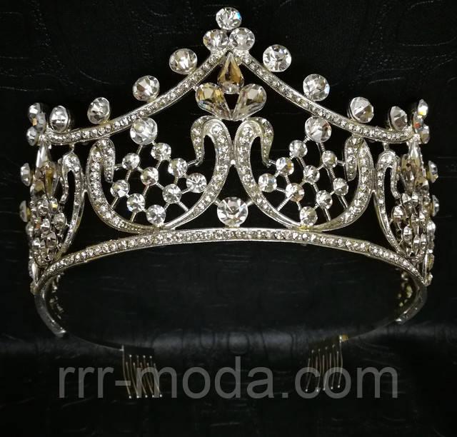 Шикарные, белые свадебные высокие короны, диадемы оптом. Свадебная бижутерия оптом.