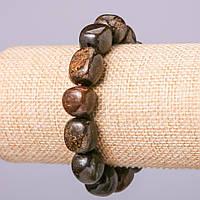 Браслет из натурального камня Петерсит галтовка d-16х14+-мм обхват 18см на резинке