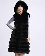 """Женская меховая жилетка  с капюшоном с искусственного меха ( эко мех ) ( искусственный писец ) """"Камалия"""""""
