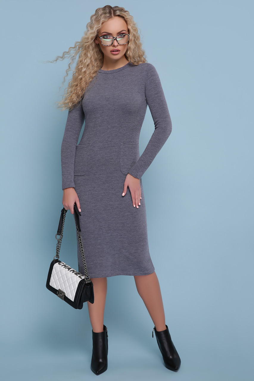 8ef4a28fd67 Женсое серое ангоровое платье-миди р.L