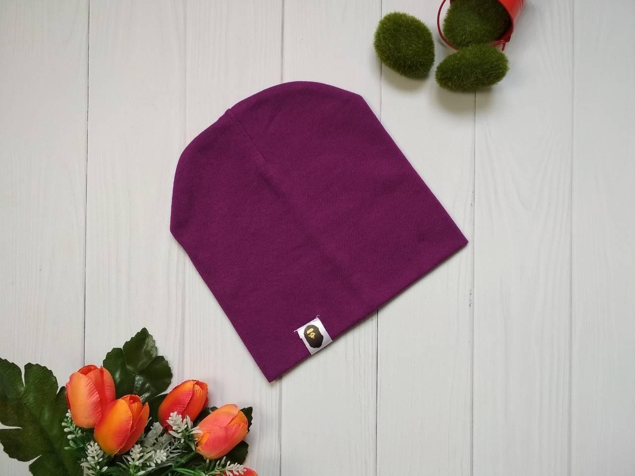 Демисезонная детская шапка  резинка Bape Kids цвет фиолетовый