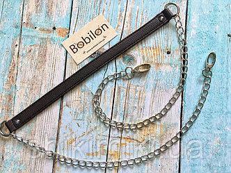Длинная ручка сцепочкой и карабинами (экокожа), цвет шоколадный