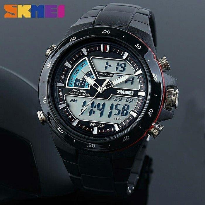 Skmei 1016  shark черные спортивные часы мужские