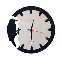 Деревянные настенные часы Дятел