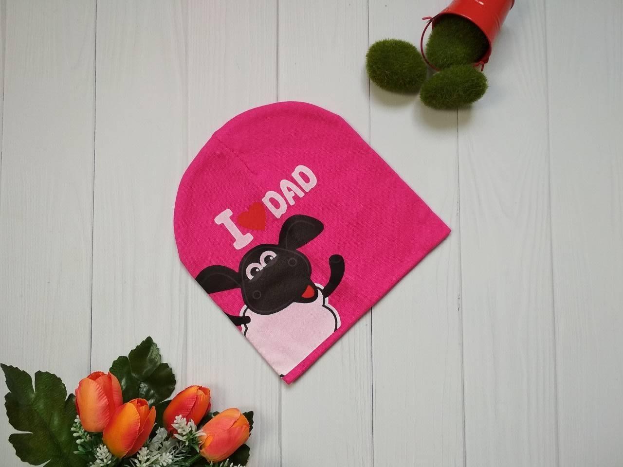 Демисезонная шапка с барашком Шоном для девочки цвет малиновый