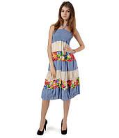 Ярусная юбка-сарафан голубая