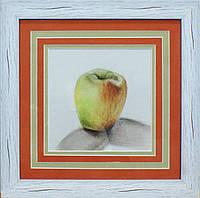 Яблоко холст 23х23 картина пастель в раме с паспарту