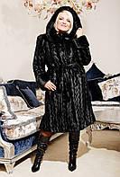 Длинная норковая шуба черная волна из искусственного меха, черная норковая шуба с капюшоном, норковые шубы укр