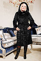 Длинная шуба черный каракуль из искусственного меха, черная шуба с капюшоном, купить шубу украина