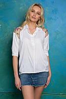 Рубашка с кокеткой с вышивкой ALBA белая, фото 1