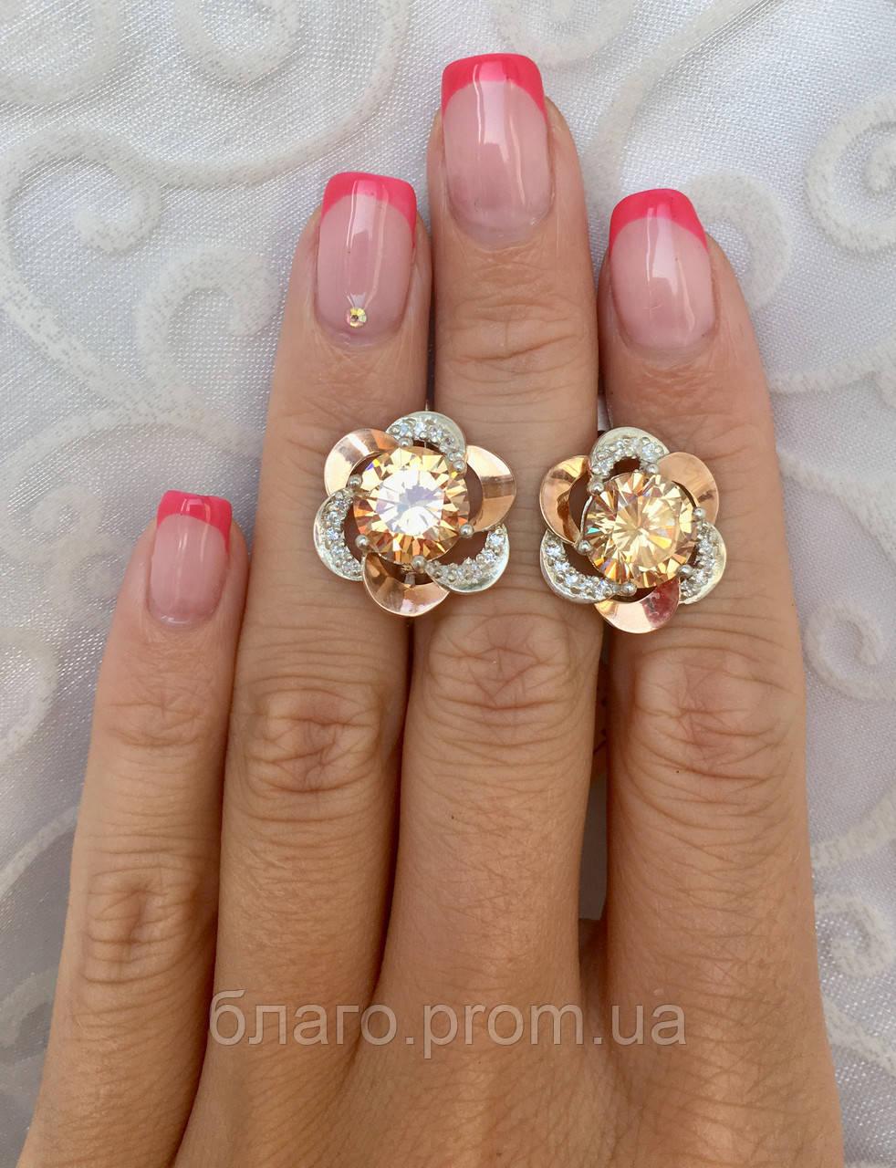 Серебряные серьги с золотом и камнями
