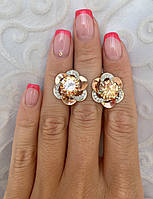 Серебряные серьги с золотом и камнями, фото 1