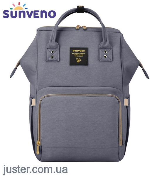 Рюкзак-сумка для мам Оригинал Sunveno Large. Умный органайзер. Стильный дизайн. Серый